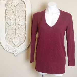 BP   Red w/ Black Speckle Long Sleeve Pull Over XS